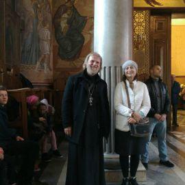 Радость от состоявшейся поездки. Батюшка и матушка в Преображенском храме в Белгороде Паломническая поездка к мощам святителя Спиридона и блаженной Матроны