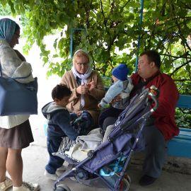 И маленькие паломники с родителями тоже готовы двигаться в путь Выезд на природу, 4.09.2021 г.